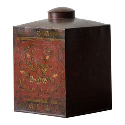 Marco Polo Imports - Gerhard Dutch Cocoa Container - Vintage square Dutch cocoa container finely crafted from classic iron with intricately painted designs.