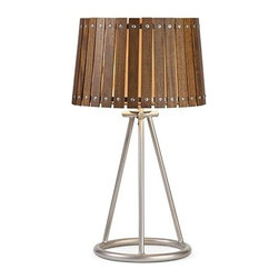 """IMAX - Acacia Wood Shade Table Lamp - A natural appeal mixed with industrial style, the Acacia wood shade table lamp has the best of both worlds. A sturdy iron tripod style base is accented by the wood slats and screw head design. Item Dimensions: (24.00""""h x 12.0""""w x12.0"""")"""