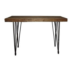 Solid Pine Console Table - With classically mid-century hairpin legs and a gorgeous pine wood table top, this console table is a great addition to your mid-century d̩cor. Put it in your kitchen to create extra counter space for your cooking gadgets, line it with a few plants in your home office, or place it in your bedroom to display photos, jewelry, and travel souvenirs.