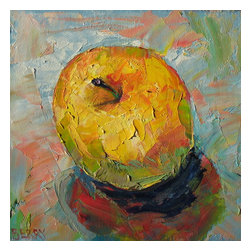 "Golden Delicious, Original, Painting - ""One of the series of apples I did, highlighting the different varieties we have to choose from-lucky shoppers that we are!  Oil on RayMar panel"""