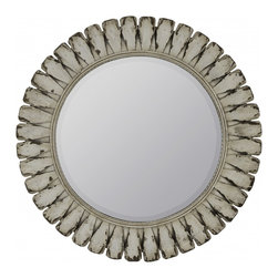 "Cooper Classics - Remi Bronze Round Mirror - The Tagus mirror will make a wonderful addition to your home's decor.  This lovely distressed off white, beveled wall mirror will compliment any decor. Frame Dimensions: 34.25""W X 34.25""H; Mirror Dimensions: 23.25""W X 23.25""H; Finish: Distressed Off White; Material: Wood; Beveled: Yes; Shape: Round; Weight: 16; Included: Brackets, Ready to Hang"