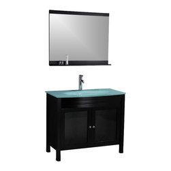 """Legion Furniture - 39 Inch Modern Single Sink Bathroom Vanity - This 39 inch modern single sink bathroom vanity is a perfect center piece for your bathroom project. This Dark Walnut bathroom vanity features 2 doors and a Glass counter top with integrated sink that is pre-drilled for a single hole faucet (faucet not included). Large opening in back for easy plumbing installation. Mirror NOT included.  Dimensions: 39.3""""W  X 21.6""""D X 34""""H (Tolerance: +/- 1/4""""); Counter Top: Tempered Glass; Finish: Dark Walnut; Features: 2 Doors; Hardware: Brushed Nickel; Sink(s): 25"""" Glass Integrated; Faucet:  Pre-Drilled for Single Hole (Not Included); Assembly: Assembly Required; Large cut out in back for plumbing; Included: Cabinet, Sink; Not Included: Faucet, Backsplash, Mirror."""