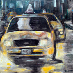 "Yellow Cab Reflections (Original) by Sharon Sieben - One of the Manhattan Towers Series paintings.  They are not all ""skyline' compositions.  Some, like this one are ""Close up"".  Artwork is on paper and should be matted and framed.  It has been finished with a layer of Oil Pigments and varnish, so it could be bonded to a rigid backing and framed without glass."