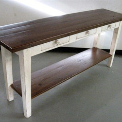 White Console Table With Shelf - Made by http://www.ecustomfinishes.com