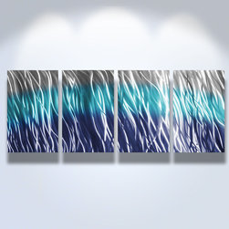 Miles Shay - Metal Art Wall Art Decor Abstract Contemporary Modern Sculpture - Reef Blue - This Abstract Metal Wall Art & Sculpture captures the interplay of the highlights and shadows and creates a new three dimensional sense of movement as your view it from different angles.