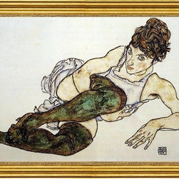 """Egon Schiele-16""""x24"""" Framed Canvas - 16"""" x 24"""" Egon Schiele Reclining Woman with Green Stockings (also known as Adele Harms) framed premium canvas print reproduced to meet museum quality standards. Our museum quality canvas prints are produced using high-precision print technology for a more accurate reproduction printed on high quality canvas with fade-resistant, archival inks. Our progressive business model allows us to offer works of art to you at the best wholesale pricing, significantly less than art gallery prices, affordable to all. This artwork is hand stretched onto wooden stretcher bars, then mounted into our 3"""" wide gold finish frame with black panel by one of our expert framers. Our framed canvas print comes with hardware, ready to hang on your wall.  We present a comprehensive collection of exceptional canvas art reproductions by Egon Schiele."""