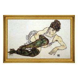 "Egon Schiele-16""x24"" Framed Canvas - 16"" x 24"" Egon Schiele Reclining Woman with Green Stockings (also known as Adele Harms) framed premium canvas print reproduced to meet museum quality standards. Our museum quality canvas prints are produced using high-precision print technology for a more accurate reproduction printed on high quality canvas with fade-resistant, archival inks. Our progressive business model allows us to offer works of art to you at the best wholesale pricing, significantly less than art gallery prices, affordable to all. This artwork is hand stretched onto wooden stretcher bars, then mounted into our 3"" wide gold finish frame with black panel by one of our expert framers. Our framed canvas print comes with hardware, ready to hang on your wall.  We present a comprehensive collection of exceptional canvas art reproductions by Egon Schiele."