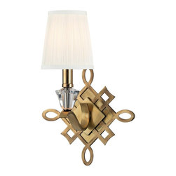 Hudson Valley - 8181-AGB Fowler Wall Sconce, Aged Brass, Faceted crystal - Art Deco Wall Sconce in Aged Brass with Faceted crystal from the Fowler Collection by Hudson Valley.