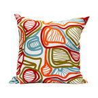 """Area Inc. - Bloom Large Decorative Pillow 22X22"""" - Area Inc. - Add a bright, bold print to your couch or bed with the 22-by-22 inch Bloom Decorative Pillow. This pure linen pillow features an abstract leaf design in vibrant orange, green and blue. Includes a feather down insert. Display it against solid colors for a dramatic contrast."""