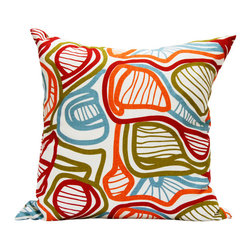 "Area Inc. - Bloom Large Decorative Pillow 22X22"" - Area Inc. - Add a bright, bold print to your couch or bed with the 22-by-22 inch Bloom Decorative Pillow. This pure linen pillow features an abstract leaf design in vibrant orange, green and blue. Includes a feather down insert. Display it against solid colors for a dramatic contrast."