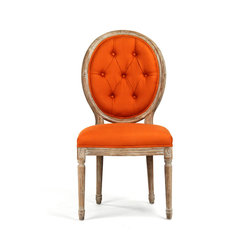 Tufted Medallion Side Chair - This brilliant side chair features a classic frame, complete with tufted backrest, yet it's been reinvigorated with a burst of color. This collaboration allows you to embrace tradition, but in an unconventional manner.