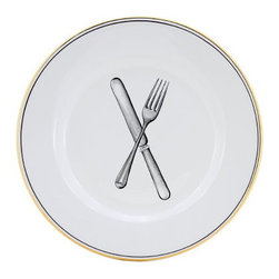 Artistica - Hand Made in Italy - POSATA: Dinner Plate - POSATA Collection. A Deruta of Italy clever dinnerware design by retailer, author and trendsetter Peri Wolfman.