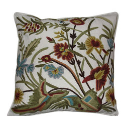 Crewel Fabric World - Crewel Pillow Spring Sparrows Forest Colors on Offwhite Cotton Duck 18x18 Inches - Features the exotic feel of a palampore with the handcrafted charm of early-American crewelwork.