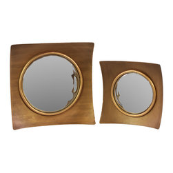 Wood Mirror w/ Concave Wooden Frame - Set of 2 - Antique Gold - *Wood Mirror with Concave Wooden Frame  - Antique Gold Set of Two  - Antique Gold