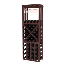 Wine Racks America - Lattice Stacking Cube - 3 Piece Set in Ponderosa Pine, Walnut - Designed to stack one on top of the other for space-saving wine storage our stacking cubes are ideal for an expanding collection. This 3-piece set comes with (1) X-Cube, (1) Stemware Cube and (1) 4 Column Cubicle. Use as a stand alone rack in your kitchen or living space or pair with more stacking cubes as your wine collection grows.