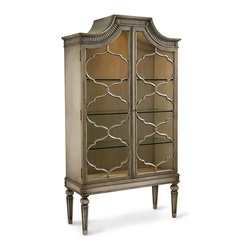 Surya Display Cabinet - Far Eastern fantasies are conjured by the repeated cloud shapes which complicate the beauty of the Surya Display Cabinet.  Equipped with interior glass shelves, this pale grey wood cabinet is carved to be a work of art on its own merits, with unusual tapered and coffered legs supporting an evocative upswept top and an unconventional ribbed frieze.