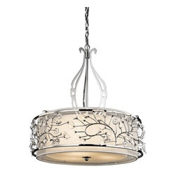 Kichler - Kichler 42391CH Jardine 3-Bulb Indoor Pendant with Drum-Shaped Glass Shade - Kichler 42391CH Jardine Pendant Light