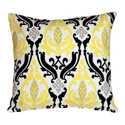 Pillow Decor - Pillow Decor - Linen Damask Print Yellow Black 16 x 16 Throw Pillow - A lemon yellow and black damask pattern give this 16 x 16 square throw pillow dramatic flair. The pattern in printed on an white background. Made from a high quality, 100% linen fabric, this throw pillow is bold and lively, yet sophisticated. A great pillow to bring some contrast and flair to your home.