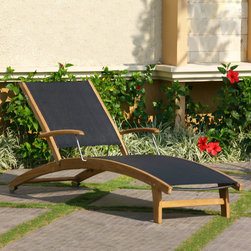 Rivera Teak Sling Lounge Chair - The Rivera Teak Wood Sling Lounge Chair will make a perfect addition to your patio or poolside. Pair with other outdoor teak items to create your ultimate backyard retreat.