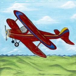 RR - Boys Red Vintage Airplane Kids Framed Art - Boys Red Vintage Airplane Kids Framed Art
