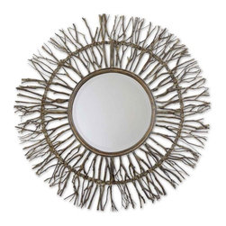 """Uttermost - Uttermost Josiah Mirror - Uttermost Josiah Mirror is a Part of Grace Feyock Designs Collection by Uttermost Frame is made of real birch branches woven onto a wooden frame with burnished edges and light gray accents. Mirror has a generous 1 1/4"""" bevel. Wall Mirror (1)"""