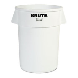 Rubbermaid Commercial - Rubbermaid Commercial Brute Refuse Container, Round, Plastic, 44 gal, White - When there's trash that needs to be collected, this Brute gets down to business. All-plastic professional-grade container has ample room and durability. It won't rust, chip or peel; resists dents. Reinforced rims add strength. Molded grips. Lids and dolly sold separately.