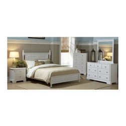 Homelegance - 5-Piece Contemporary Bedroom Set in White (Queen) - Choose Bed Size: Queen.