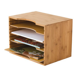 Lipper - Bamboo File Organizer w 4 Dividers - 4 section file holder. Color/Finish: Natural. Material: Bamboo. 12.75 in. L x 9.25 in. W x 9.5 in. H (1.4 lbs)