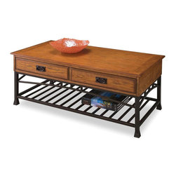 HomeStyles - Coffee Table in Distressed Oak Finish - Two storage drawers open from either side. Open storage shelf. Brown metal accents. Made from poplar solids and oak veneers. 44.5 in. W x 22 in. D x 19.5 in. H. Assembly InstructionsReminiscent of the American craftsman era with understated style and simplicity, the modern craftsman entertainment collection marries a traditional.
