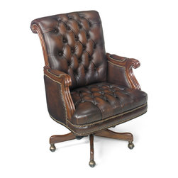 Hooker Seven Seas - Hooker Seven Seas Honey Oak/Brown Leather Swivel Office Chair - Hooker Seven Seas Executive Office Leather Swivel Chair
