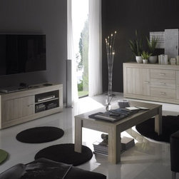 Viva 2746b- LC Sideboard Unit - The gorgeous Rustica Sideboard becomes a perfect addition to your dining room through it's simple design and functionality. The sideboard features two cabinet doors on the side with three center drawers and comes in a beautiful Oak finish.