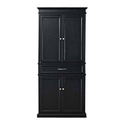 Crosley - Parsons Pantry in Black - Add function and style to your kitchen with the Parsons Pantry. Abundant storage resides within the two large cabinets, each featuring adjustable full width shelves. Made of hardwoods and built to last, this pantry is a fine addition to any household.