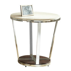 "Steve Silver Furniture - Steve Silver Bosco Faux Marble End Table with Espresso Base - Chrome, faux marble and wood combine for the Bosco Collection, for a contemporary retro-Modern style. The Bosco End table stands 24"" high, with a 24"" round top, a chrome frame and a dark wood bottom. This eye-catching piece complements the Bosco cocktail table and sofa tables."