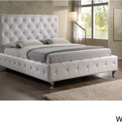 Stella Crystal Tufted White Modern King-size Bed with Upholstered Headboard -