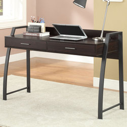 """Coaster - Computer Desk, Deep Coffee/Black - Featuring curved metal leg supports in a black finish on each side, with a wood finished table surface. This desk also offers two storage drawers and a raised back edge prevent items from falling off. The natural tones of the wood finish make this piece easy to match with. A matching bookcase and file cabinet are also available.; Casual Style; Finish/Color: Deep Coffee/ Black metal; Dimensions: 48.75""""L x 19.75""""W x 32.75""""H"""