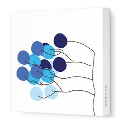 """Avalisa - Imagination - Budding Tree Stretched Wall Art, 12"""" x 12"""", Blue - This enchanting work of art will brighten your walls and tickle your senses. Each piece is printed on fabric and applied to stretchers for a straight-from-the-gallery look. It would make a wonderful addition to a family room, bedroom or nursery."""