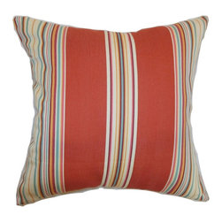 Pillow Collection - The Pillow Collection Hyder Stripes Pillow - Red Barn - P18-MVT-1195-REDBARN-C10 - Shop for Pillows from Hayneedle.com! Festive stripes in handsome colors give The Pillow Collection Hyder Stripes Pillow - Red Barn its style. This decorative pillow would add style and color to any space. It's made of natural cotton with a blended feather and down fill that holds its shape beautifully. Dry clean only.About The Pillow CollectionIdentical twin brothers Adam and Kyle started The Pillow Collection with a simple objective. They wanted to create an extensive selection of beautiful and affordable throw pillows. Their father is a renowned interior designer and they developed a deep appreciation of style from him. They hand select all fabrics to find the perfect cottons linens damasks and silks in a variety of colors patterns and designs. Standard features include hidden full-length zippers and luxurious high polyester fiber or down blended inserts. At The Pillow Collection they know that a throw pillow makes a room.