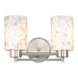 Design Classics Lighting - Bathroom Light with Mosaic Glass in Satin Nickel Finish - 702-09 GL1026C - Country / cottage satin nickel 2-light bathroom light. Takes (2) 100-watt incandescent A19 bulb(s). Bulb(s) sold separately. UL listed. Damp location rated.