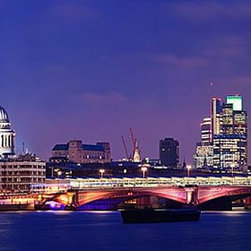 Magic Murals - London at Night Panorama Wall Mural -- Self-Adhesive Wallpaper by MagicMurals - The Westminster Bridge and the buildings of the city of London are all lit up in this panoramic cityscape of England's capital skyline shortly after dusk.  Taken from across the Thames River.