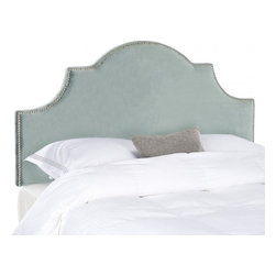 Safavieh - Hallmar Arched Queen Size Headboard - Wedgwood Blue - Classic and expertly tailored, the softly arched Hallmar full headboard is the ideal choice for a beautiful bedroom makeover in minutes. With its luxurious Wedgwood blue cotton velvet fabric, and stunning silver nailheads outlining a graceful silhouette, this plush pre-upholstered headboard presents like a custom designer piece. Attaches to any standard size metal frame bed.