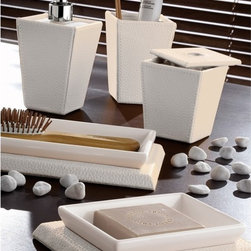 Gedy - Kyoto Faux Leather White Bathroom Accessory Set - Modern white soap dish, comb holder, cotton swab jar, toothbrush holder, and soap dispenser from the Gedy Kyoto Collection. Made out of faux leather. From the Gedy Kyoto Collection. Included in set:. Soap Dish Gedy 1511-02. Comb Holder Gedy 1506-02. Cotton Swab Jar Gedy 1504-02. Soap Dispenser Gedy 1581-02. Toothbrush Holder Gedy 1510-02.