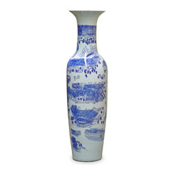 China Furniture and Arts - Hand Painted Blue & White Canton Vase - Jingdezhen is the capital of porcelain in China for more than two thousand years. The artists there reached artistic and firing technique maturity by Jin Dynasty around 583 AD. Throughout history, products from Jingdezhen kilns was the official source of porcelain for the court. Well-known for its signature fine smooth surface, our tall vase has panorama Chinese scenery hand-painted all around it. The traditional blue and white tone reflects the serenity of the southern landscape.