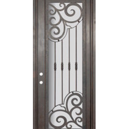 "Barcelona 36x96 Forged Iron Single Door 14 Gauge Steel - ""SKU#    PHBFBSR4Brand    GlassCraftDoor Type    ExteriorManufacturer Collection    Buffalo Forge Steel DoorsDoor Model    BarcelonaDoor Material    SteelWoodgrain    Veneer    Price    3850Door Size Options      $Core Type    one-piece roll-formed 14 gauge steel doors are foam filled  Door Style    TraditionalDoor Lite Style    Full LiteDoor Panel Style    Home Style Matching    Mediterranean , Victorian , Bay and Gable , Plantation , Cape Cod , Gulf Coast , ColonialDoor Construction    Prehanging Options    PrehungPrehung Configuration    Single DoorDoor Thickness (Inches)    1.5Glass Thickness (Inches)    Glass Type    Double GlazedGlass Caming    Glass Features    Insulated , TemperedGlass Style    Glass Texture    Clear , Glue Chip , RainGlass Obscurity    Door Features    Door Approvals    Wind-load RatedDoor Finishes    Three coat painting process"