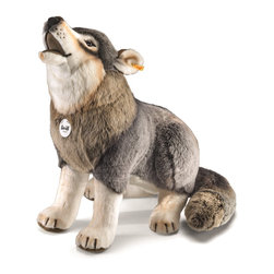 Steiff - Steiff Studio Snorry Howling Wolf - What an impressive looking wolf! Steiff Studio Snorry Wolf  is made of cuddly soft grey woven plush. Surface washable. Handcrafted by Steiff of Germany.