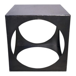Noir - Noir - Cube Metal Side Table - Metal cube table with circular opening on each side