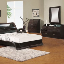 Elegant Quality Contemporary Platform Bedroom Sets - Madison wenge glossy contemporary bedroom set. This ultra stylish Madison bedroom set is a great realization of style. It is performed in a high gloss wenge polish.