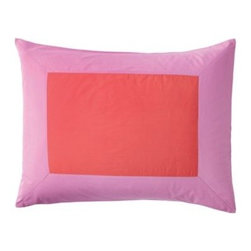 Serena & Lily - Color Frame Standard Sham  Watermelon/Violet - The beauty of this simple color-block design is that it sets the stage for a multitude of looks. Use it as a starting point for adding even more color, or let it be the one bold element in an all-white bed.