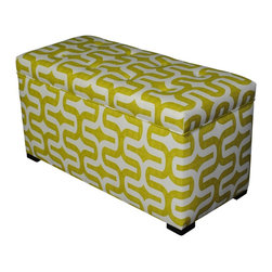 Sole Designs - 'Angela Embrace' Green Patterned Storage Trunk - Combine style and functionality with this green storage trunk,featuring a geometric green-and-white upholstery to give your room a contemporary feel. This modern trunk comes with fire-retardant foam to ensure long-lasting durability.