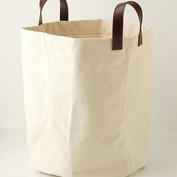 Mountain Peaks Bath Basket, Ivory, Tall - Simple canvas baskets could be used to hold everything from swimsuit and snorkel gear to kids' beach toys.