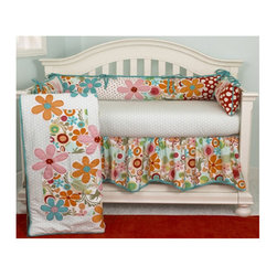 Cotton Tale - Lizzie 4 Piece Crib Bedding Set - As with all Cotton Tale Designs, the Lizzie Crib Bedding Collection is of very high heirloom quality and is sure to impress any nursery room visitor! This set features all the scenery of a blossoming garden full of fresh flowers. With its soothing natural tones and calming, pastoral essence, every day is like lounging on a spring-time garden terrace with your baby, when their nursery is decorated with the Lizzie Crib Bedding Collection. Features: -Crib set includes comforter, bumper padding, fitted sheet and dust ruffle. -100% cotton. -Bedding features a flower and polka dot pattern in shades of red and blue. -Fun and bright colors. -Coordinates with the Cotton Tale Lizzie Crib Bedding collection. -Care instructions: Machine washable.
